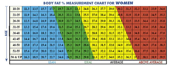 ideal body fat percentage chart nhs