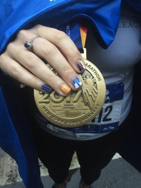 nyc marathon medal and nails sarah marie designs